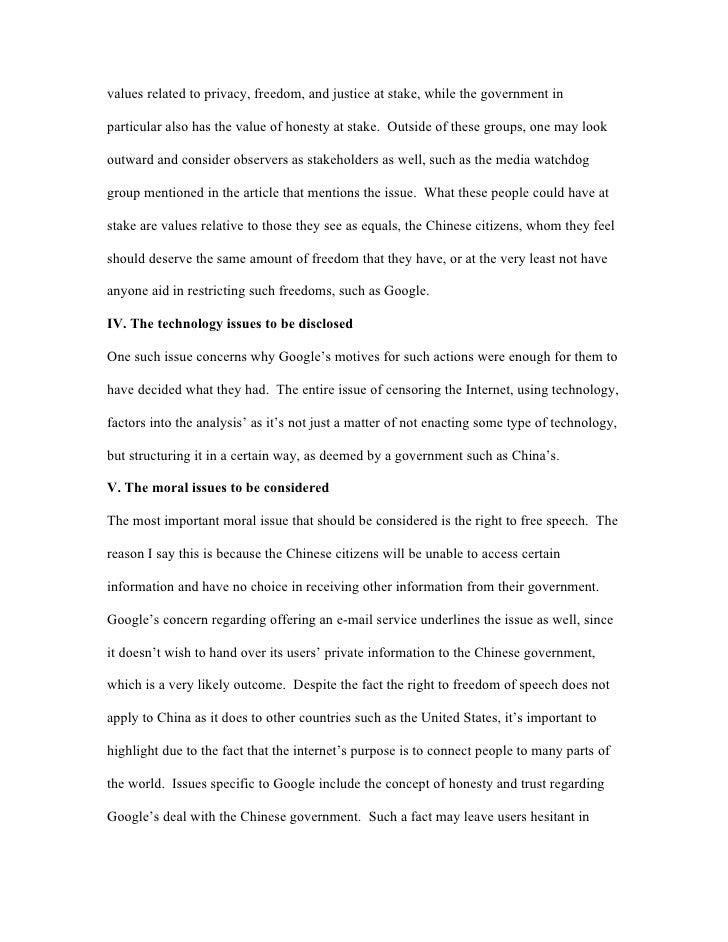 essay analzying google s censorship both have 2 values