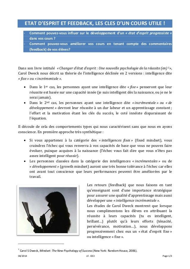 04/2014 J.F. CECI Page 1/3 ETAT D'ESPRIT ET FEEDBACK, LES CLES D'UN COURS UTILE ! - Comment pouvez-vous influer sur le dév...