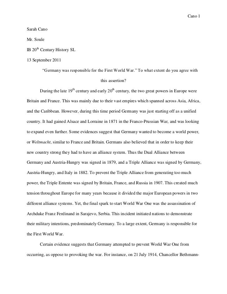 "essay origins of wwi essay 1 origins of wwi cano 1sarah canomr souleib 20th century history sl13 2011 "" was responsible for"