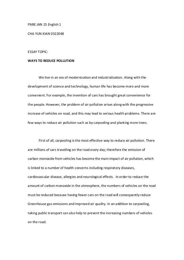 Ways to prevent pollution essay