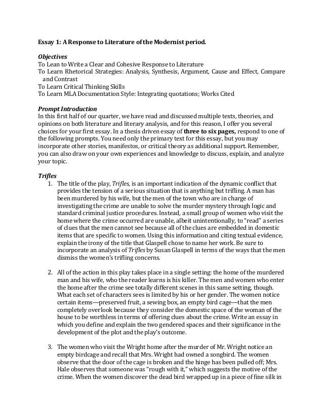 essay master essay 1 a response to literature of the modernist