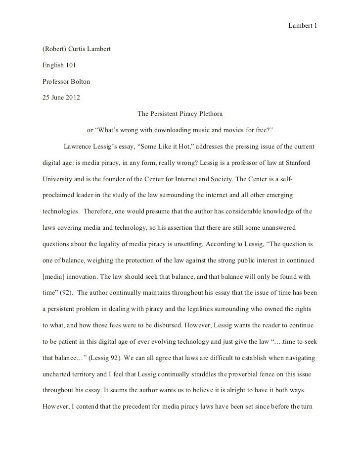 comparative essay example pdf