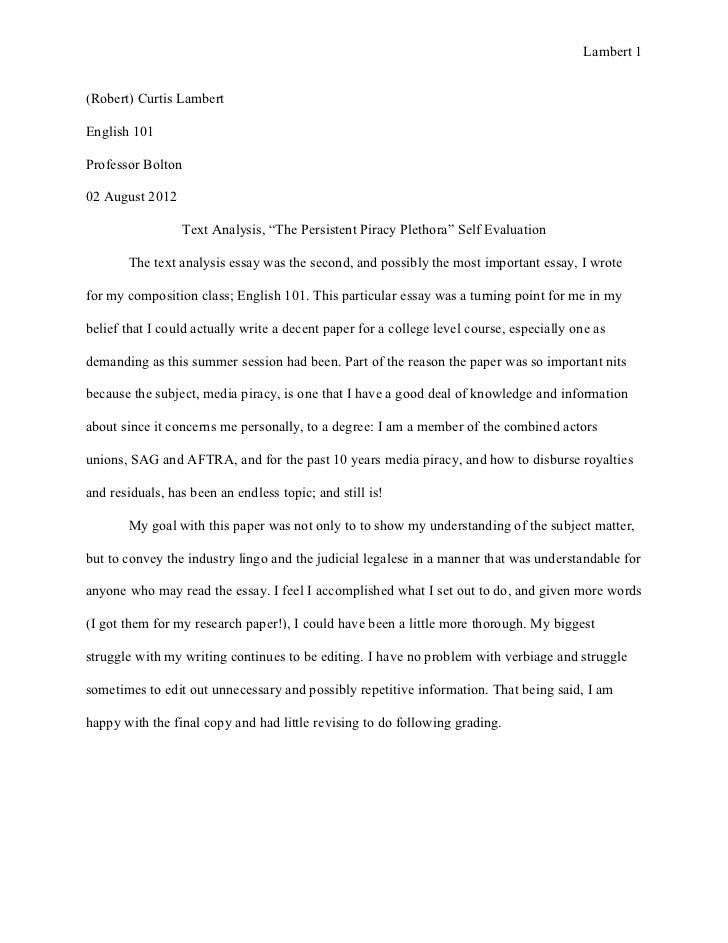 Speech Self Evaluation Essay Process Essay Sample Self Assessment