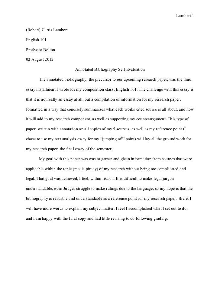 self evaluation of an essay
