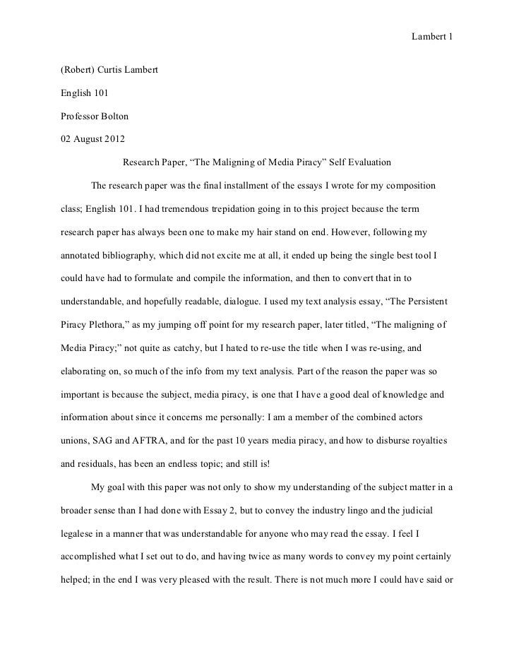 Self Critique Essay