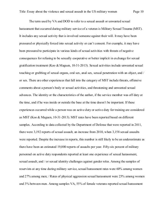 essay about the violence and sexual assault in the us military women 10 title essay about the violence and sexual