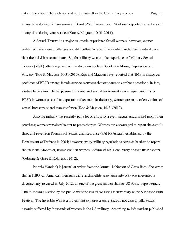 Essay About The Violence And Sexual Assault In The Us Military Women  Reported Sexual Harassment  Title Essay