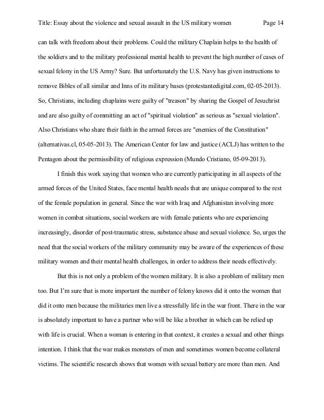 essay about the violence and sexual assault in the us military women  iers 14 title essay