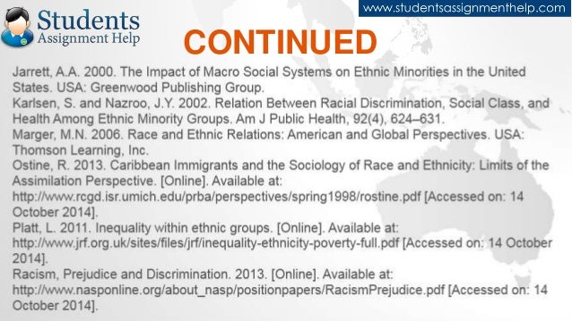 ethnic groups and discrimination assignment Do you need help with your essays, assignments (2010) study the variations of racial and ethnic discrimination across minority groups in australia.