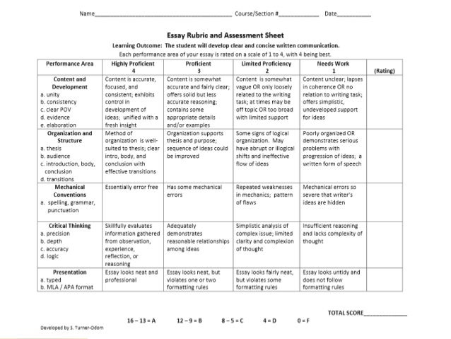 Process description essay rubric