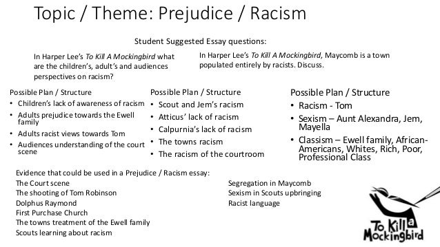 prejudice in tkam essay Litcharts assigns a color and icon to each theme in to kill a mockingbird,  they are all forms of prejudice, which is a preconceived notion about.