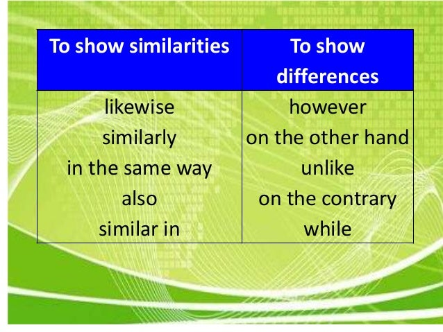 Essay on comparison and contrast topic
