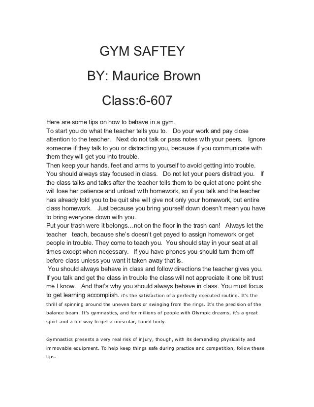 Essay On Medical Assistant Essay Gym Gym Saftey By Maurice Brown Class  Here Essays On The Scarlet Letter also Les Miserables Essay Essays For Class  Essay On Honesty Is The Best Policy For Class  Presentation Essay Example
