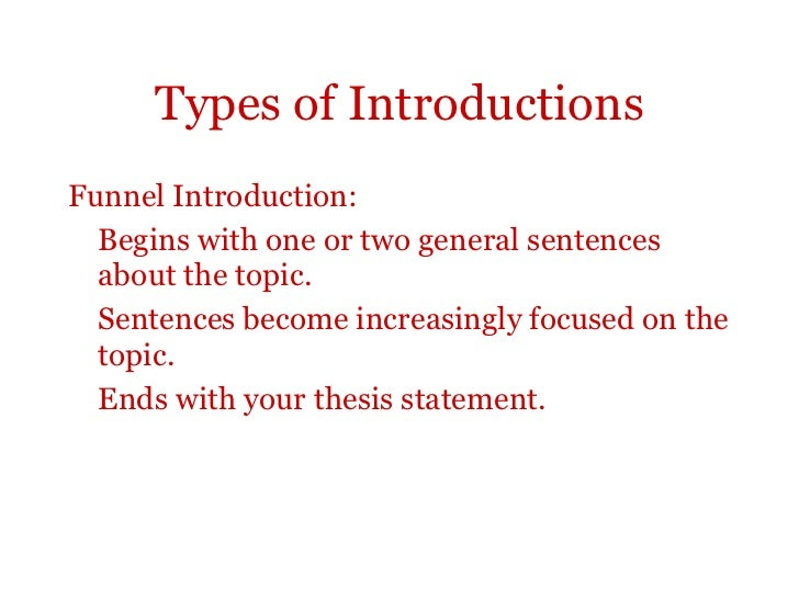Introduction and thesis sentence