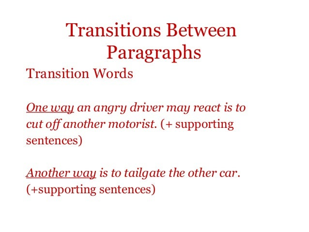body paragraph transitions