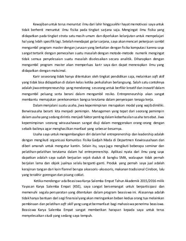 essay untuk beasiswa kse