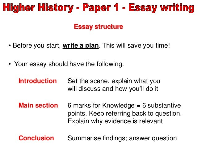 higher history essay introduction How to write an essay  a-level history is all about writing essays  one thing is certain: your introduction must make a good impression.