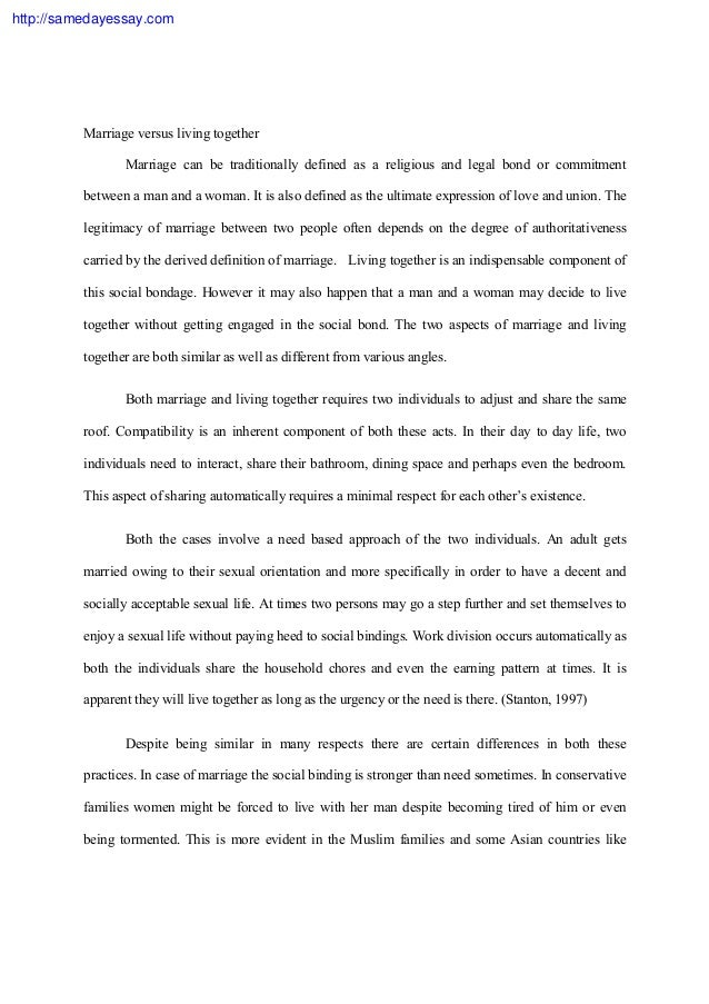 Same sex marriage essay