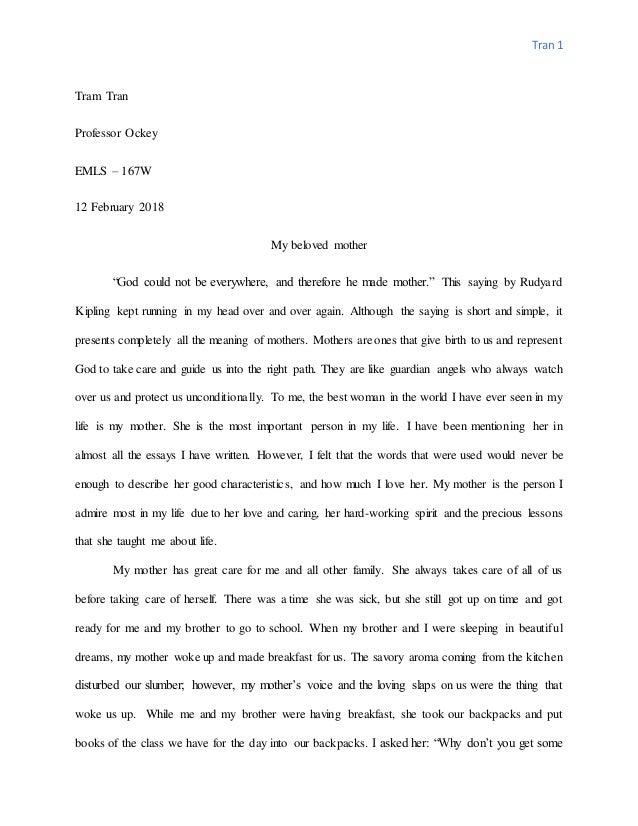 In Cold Blood Essay Topics Essay Of Mom Tran  Tram Tran Professor Ockey Emls  W  February   My Beloved Mother   Sincerity Essay also Introduction Of A Descriptive Essay Essay Of Mom School Experience Essay