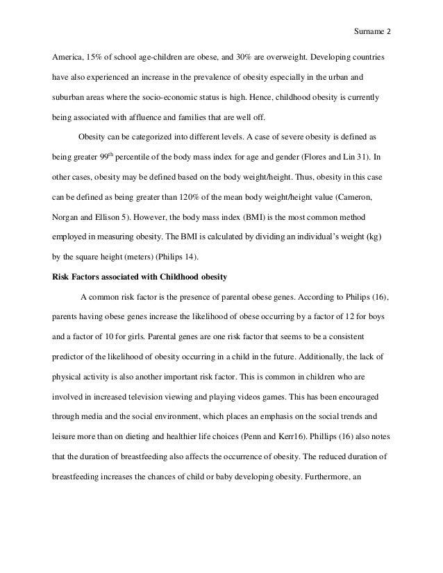 childhood obesity essay outline