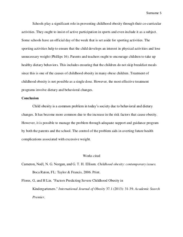 Essay on Childhood Obesity (Essay Sample)
