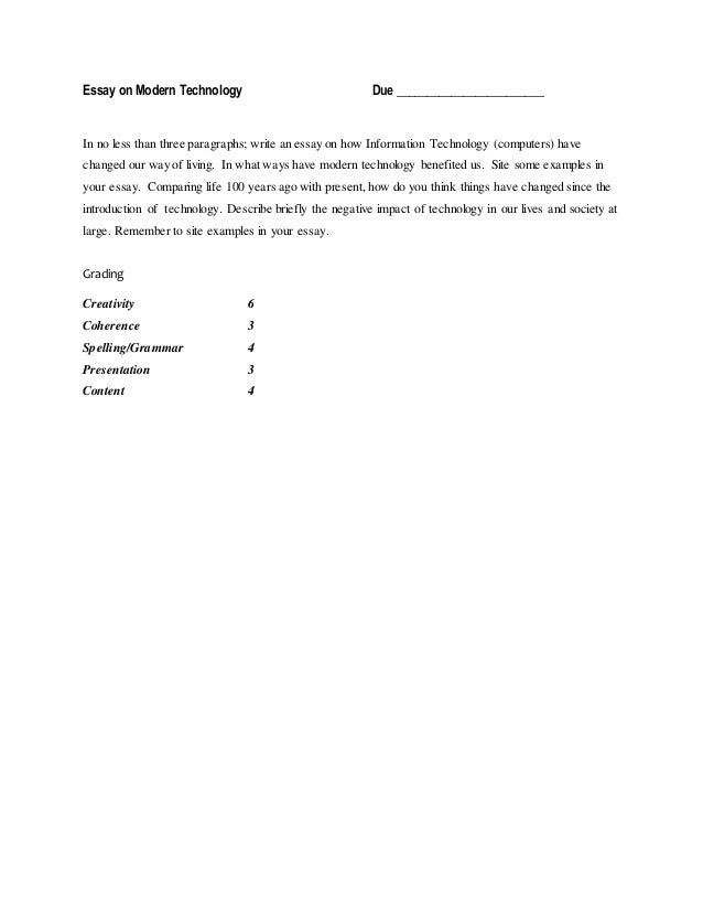 Persuasive Essay Examples For High School Essay On Modern Technology Due Proposal Essay Topic also Help With Essay Papers Essay On Computers  What Is The Thesis Of A Research Essay