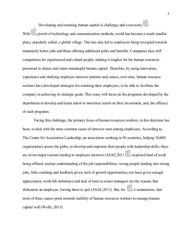 essay on developing and retaining human capital marked