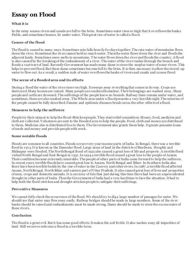 flood essay in english 100 words