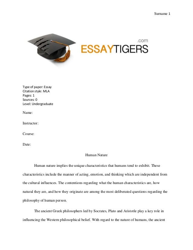 essay on human nature sur 1 type of paper essay citation style mla pages 1 sources