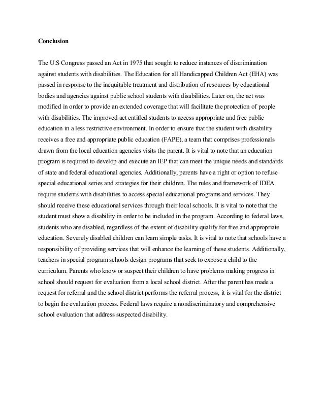 essay on imperfect implamantation and students right to a fape bidpa  4