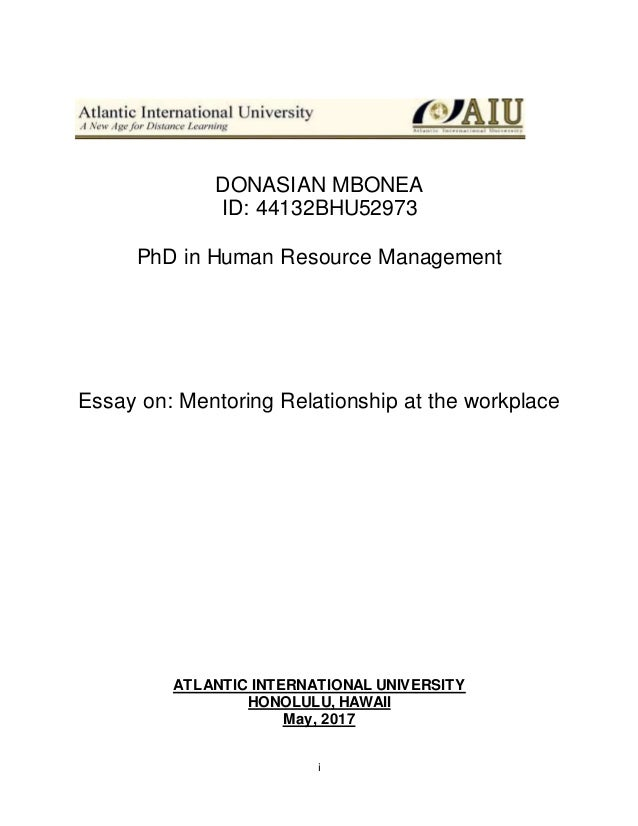 Essay On Mentorship Aiufinal I Donasian Mbonea Id Bhu Phd In Human Resource Management Essay  On Mentoring Relationship