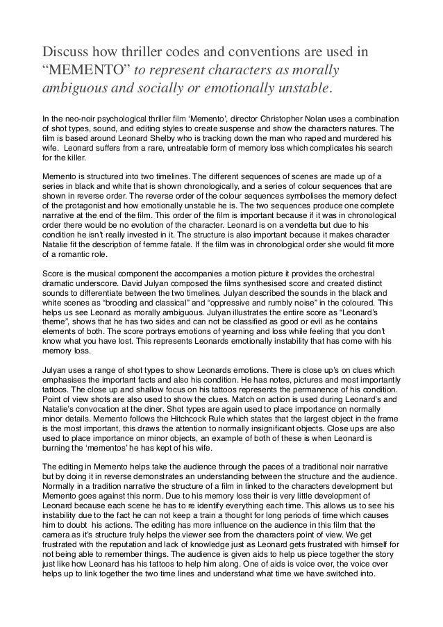 Apa Essay Paper Discuss How Thriller Codes And Conventions Are Used In Memento To  Represent Characters As  Proposal Example Essay also Thesis For Compare And Contrast Essay Essay On Memento How To Write A Thesis Statement For An Essay