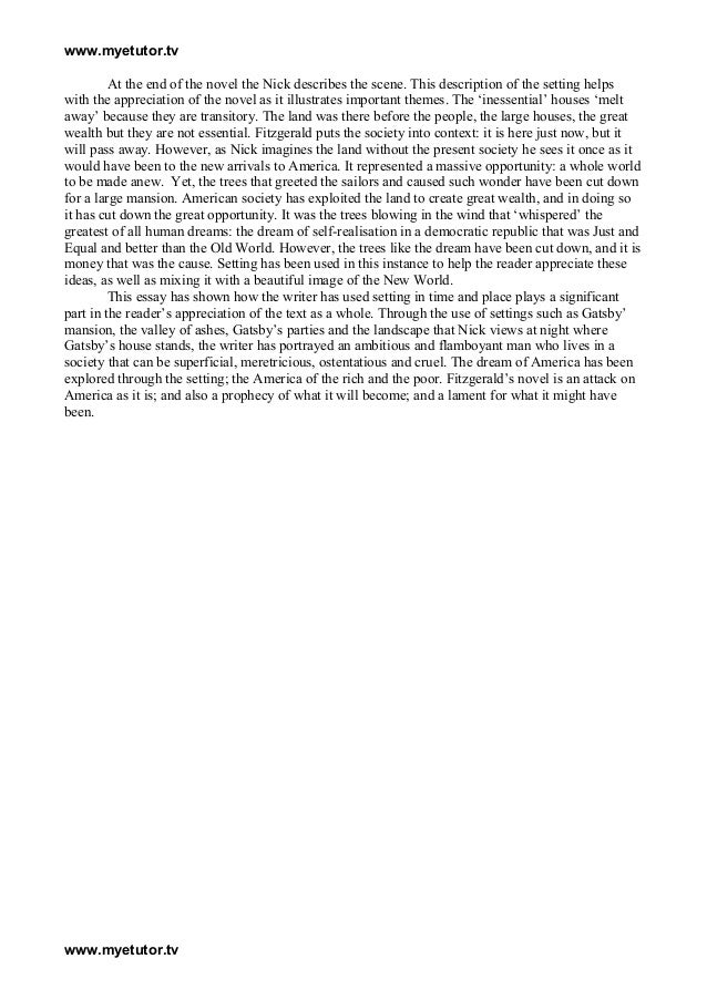 english essays great gatsby Sample student essays on the great gatsby (protected by turnitincom) unearthing an inner meaning in the final lines of the great gatsby gatsby, of course, was.