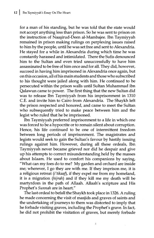 essay on the heart by ibn taymiyyah commentary by dr bilal philips but merely forbade 16