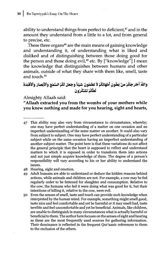 essay on the heart by ibn taymiyyah commentary by dr bilal philips 33 that