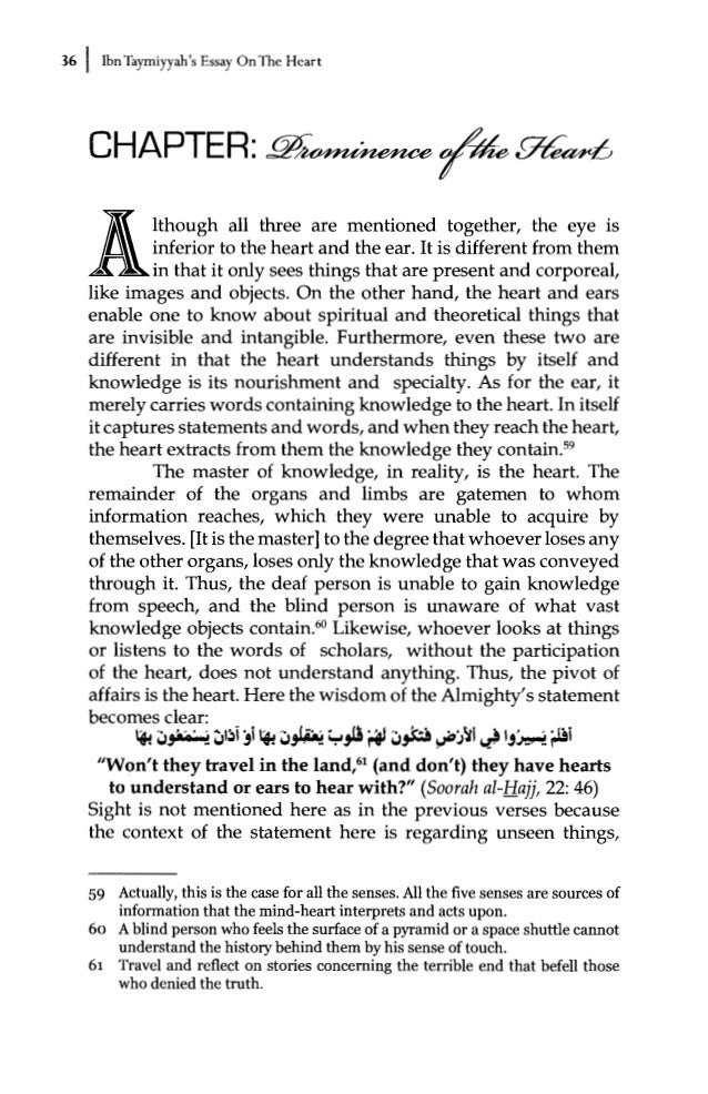 essay on the heart by ibn taymiyyah commentary by dr bilal philips   39 50 i ibn taymiyyah s essay onthe heart