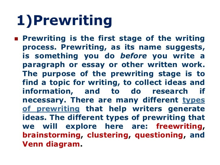 steps in the prewriting phase of essay writing Prewriting and outlining (university of maryland university college)  essay  writing is a process and the first step involves understanding what is being asked  of.