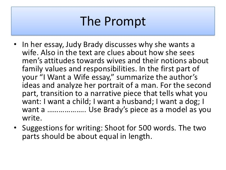 I want a wife essay summary