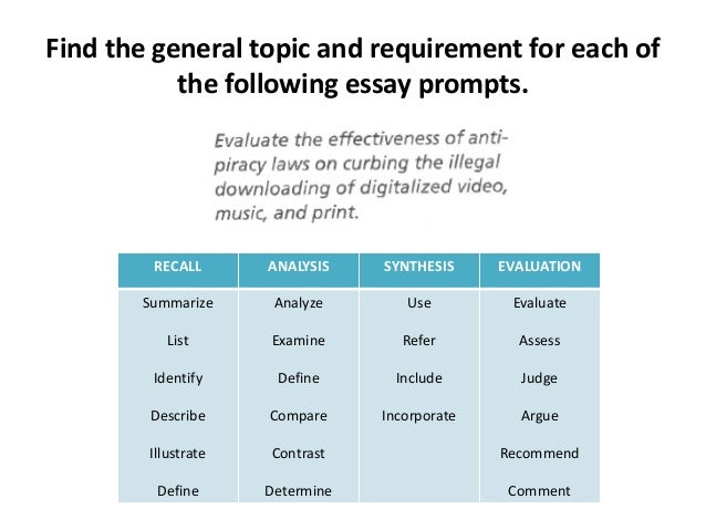 Define evaluate in essay