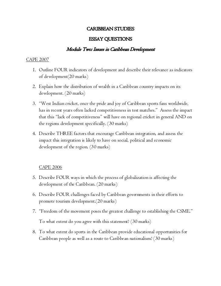 Caribbean Studies Past Paper Questions Essay