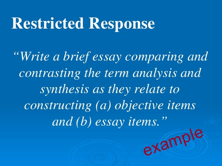 essays 8 restricted response ""