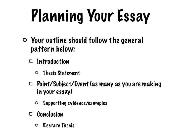 planning your essay A good essay plan helps you arrange your ideas logically and stay on track during the writing process your plan should state how you're going to prove your argument, including the evidence you're going to use.