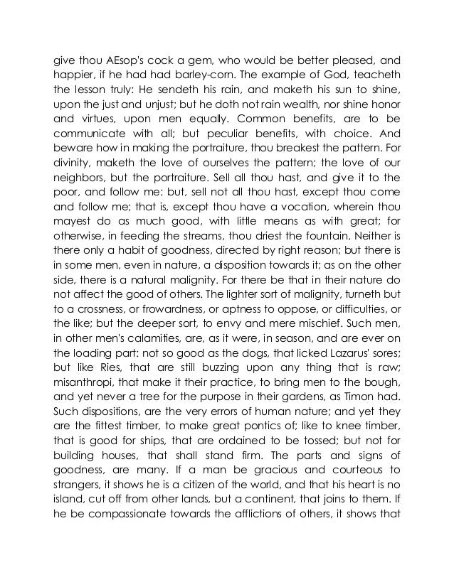 essay by sir francis bacon Sir francis bacon essays pdf in this edition of bacons essays, i have used the text of james spedding, the works of francis in bacons garden, and last, but not least.