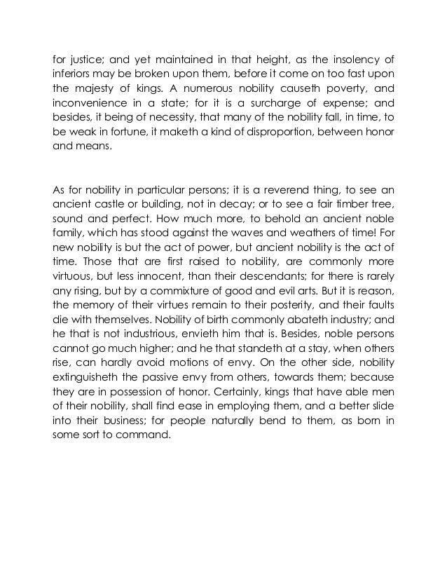 summary of bacons essay of nobility