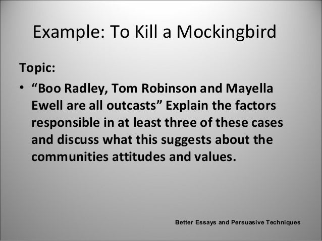 to kill a mockingbird tom robinson and boo radley essay To kill a mockingbird essay  harper lee uses tom robinson, boo radley and mayella ewell to symbolize mockingbirds to tell us.