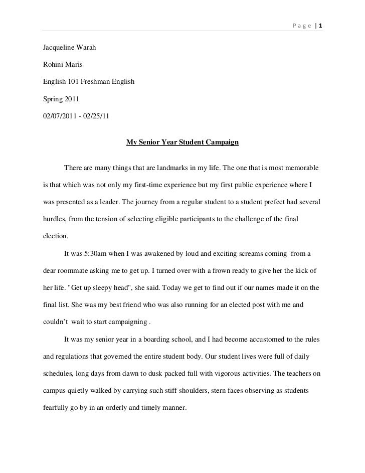 essay senior year  essay senior year jacqueline warah<br >rohini maris<br >english 101 freshman english