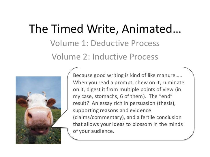 The Timed Write, Animated…<br />Volume 1: Deductive Process<br />Volume 2: Inductive Process<br />Because good writing is ...