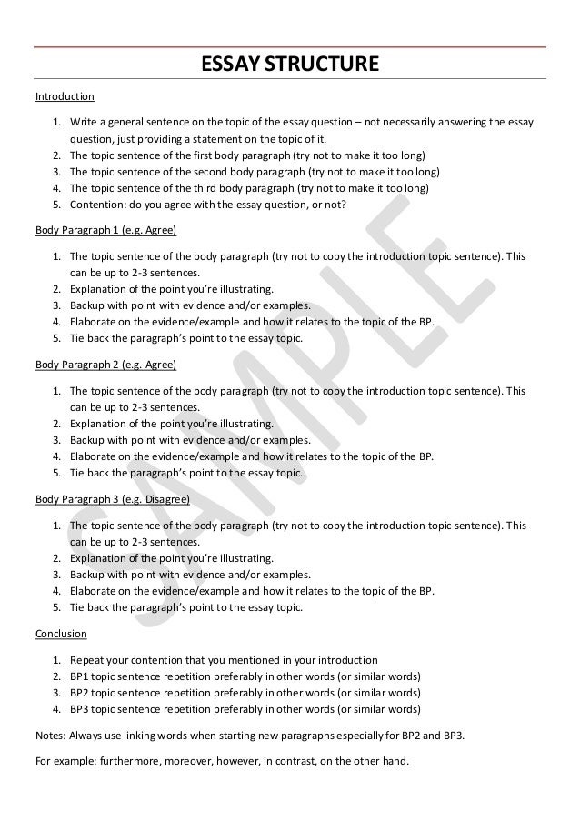 VCE English Language   Essay Structure. ESSAY STRUCTURE Introduction 1.  Write A General Sentence On The Topic Of The Essay Question ...