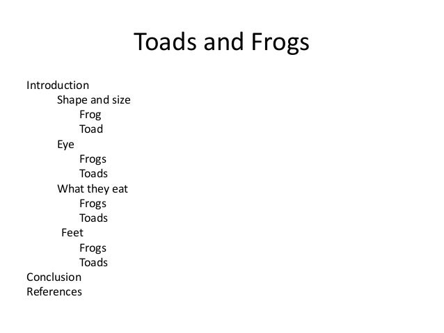 Frog toad compare contrast essay
