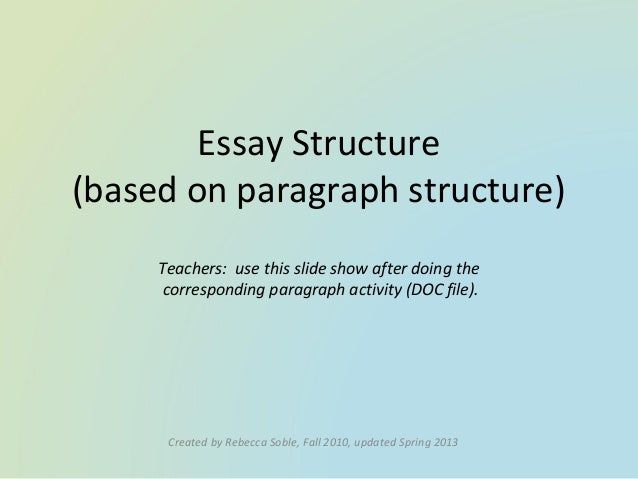module 2 teaching essay structure Module 1: unit 2: this essay is similar in structure to part of the essay students will write unit 2: lesson 8 analyzing the content of a model essay.